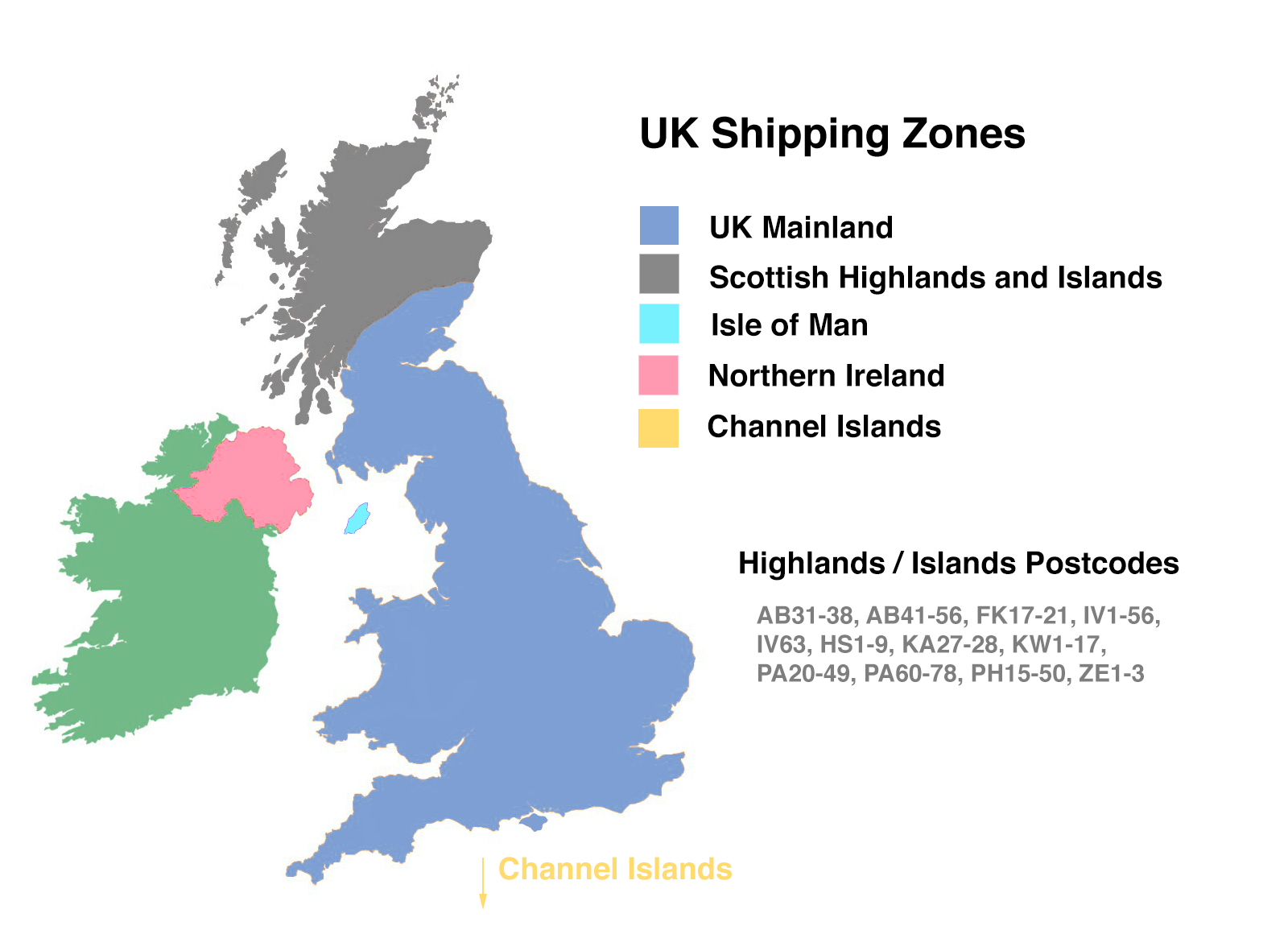 Map Of Uk Mainland.Delivery Prices Information Thunderpole