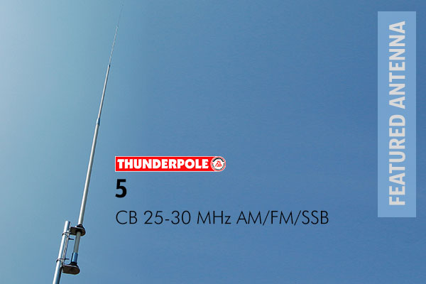 Thunderpole 5 CB Radio Base Antenna is a 5th generation high performance base station aerial. The usable frequency band makes it ideal for use on the CB and 10 metre band as well as DX'ing.