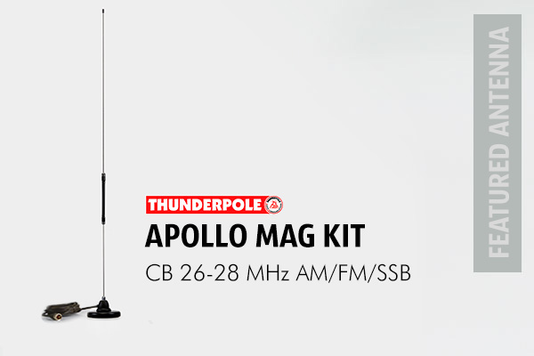 Thunderpole Apollo Mag Kit CB Radio Aerial. This CB antenna kit is ideal for most vehicles as it is only 78cm long with a low profile 4 inch magnet to keep it strongly attached to any steel roof.