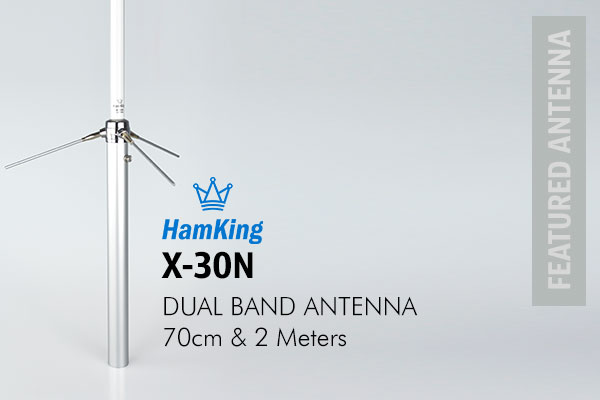HamKing X-30N Amateur Radio Antenna vertical antenna for 144 MHz and 430 MHz consists of a fibre glass rod construction, pre-tuned and fully weatherproofed.