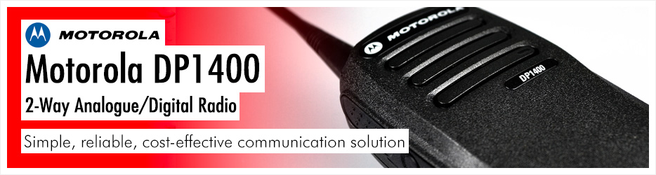 The Motorola DP1400 2-Way Radios are available as analogue PMR or DMR digital business radios. UHF & VHF portable handheld two-way radios for professional use.