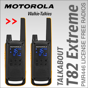 The Motorola T82 is a high specification, robust but easy to use PMR446 2-Way Radio walkie talkie.