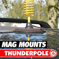 Strong CB antenna mount magnets that simply cling onto the steel roof of any vehicle.