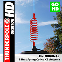 The 'Orbitor HD' is the original Heavy Duty spring coiled baseload CB Antenna from Thunderpole.