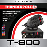 Thunderpole T-800 is a small compact, user-friendly CB radio with essential features, including AM/FM channels, Multi-band operation with UK, auto-squelch, bright LED display, signal meter and a microphone.