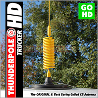 The 'Trucker HD' is a small Heavy Duty spring coiled baseload CB Antenna from Thunderpole. Its strengthened connecting parts make it suitable for more demanding applications, such as off-roading.