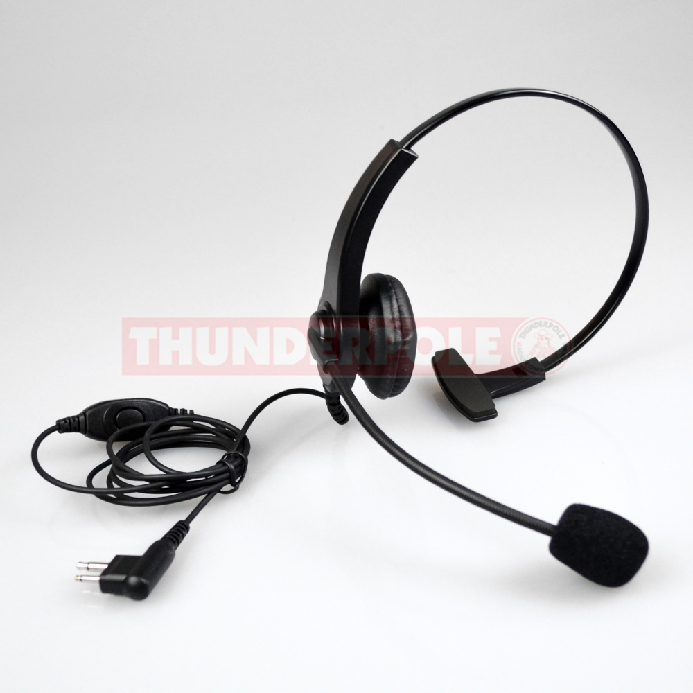 Light Weight Headset & Boom Mic for 2 Pin Motorola Radios