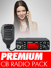 CB Radio Premium Pack, ideal for you if you want a superior CB with advanced features and a vivid multi-colour LCD screen.