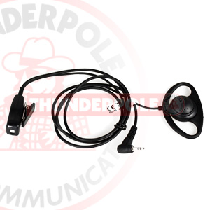 D-Shape Earpiece / Microphone for Single Pin Motorola & Cobra Radios